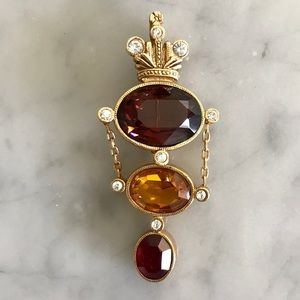 Vintage Joan Rivers Crown Stone Brooch Pendant